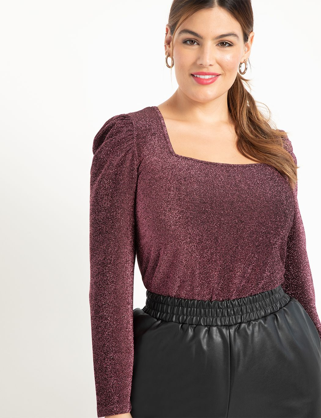 ELOQUII Elements Square Neck Puff Sleeve Top