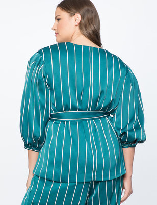 Pinstripe Puff Sleeve Jacket