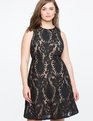 Sleeveless Lace Fit and Flare Dress  TOTALLY BLACK + NUDE