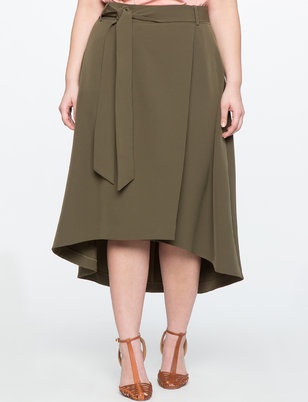 High Low Faux Wrap Skirt