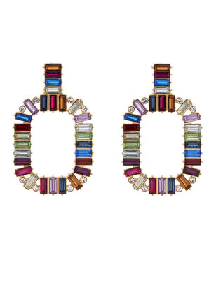 Jeweled Rounded Rectangle Earrings