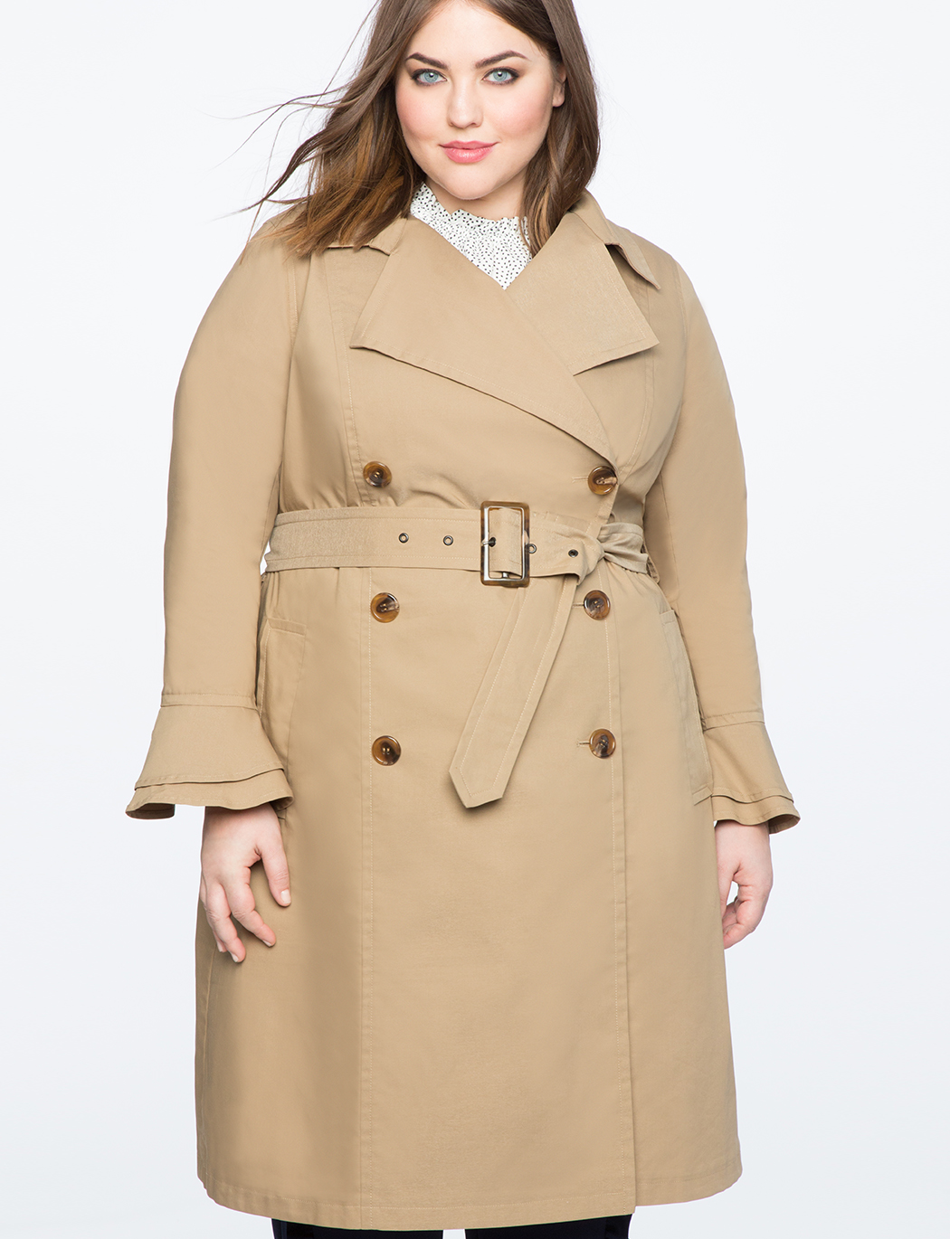 99ba07bb4d8 Ruffle Sleeve Trench Coat