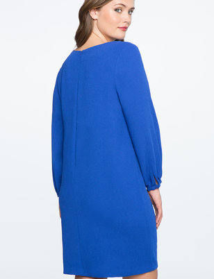 Gathered Sleeve V Neck Dress