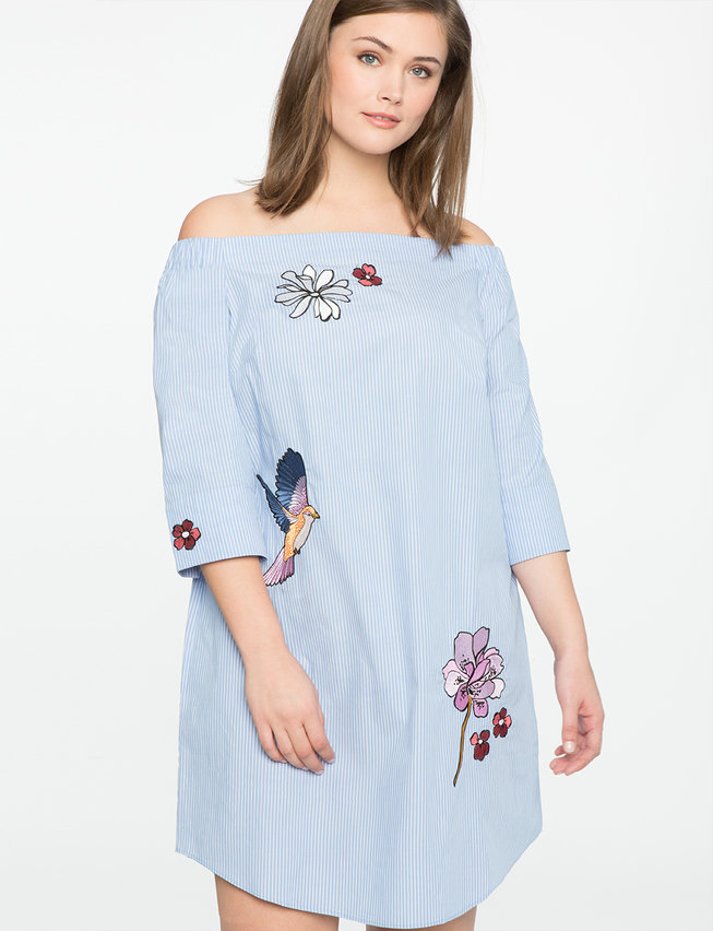 Studio Embroidered Off The Shoulder Dress Womens Plus Size