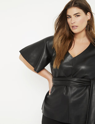 Faux Leather Tie Waist Top
