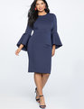Flare Sleeve Scuba Dress Navy