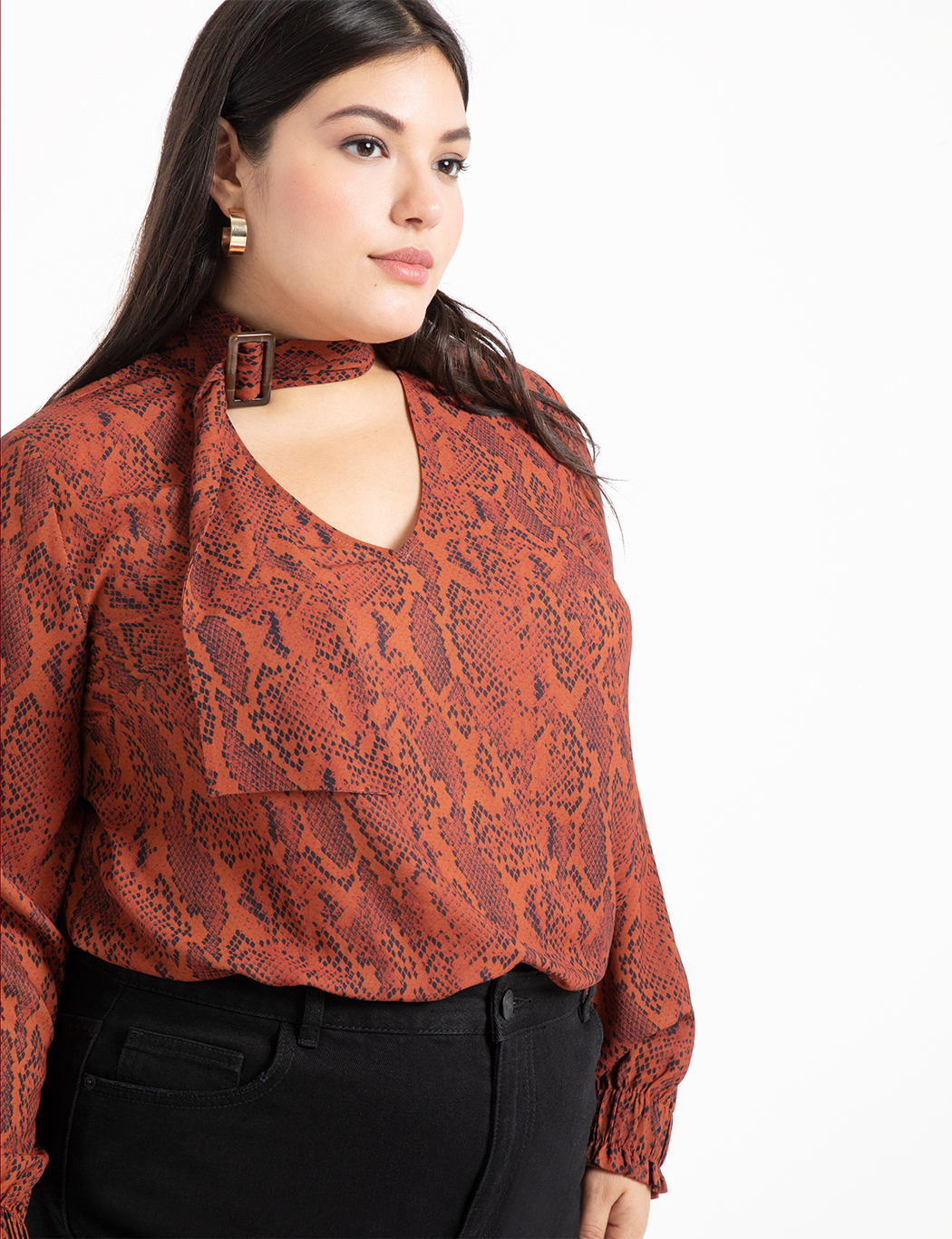 V-Neck Blouse with Tie Neck