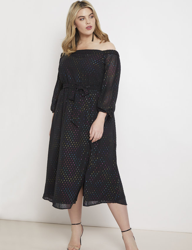 Off the Shoulder Dress with Tie Sleeves