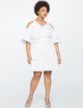 Cold Shoulder Pleated A-Line Dress WHITE
