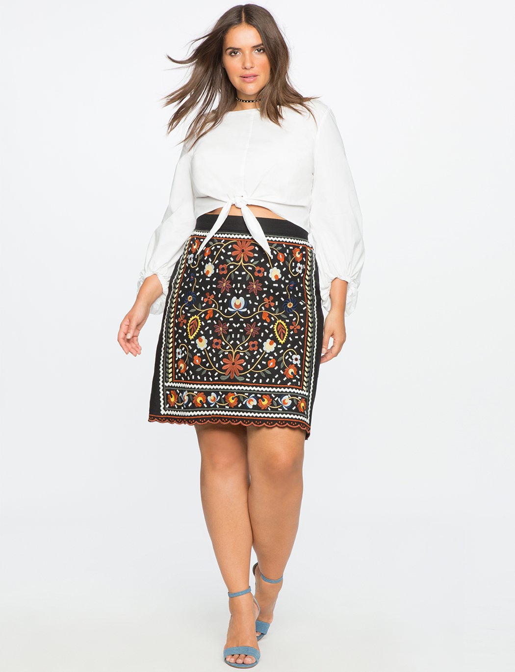 Studio Embroidered Pencil Skirt Women S Plus Size Skirts