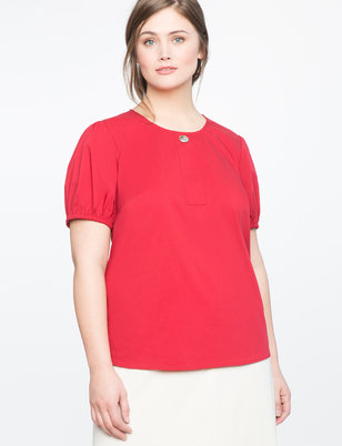 Button Detail Puff Sleeve Top