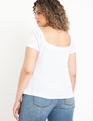 Button Front Top Soft White