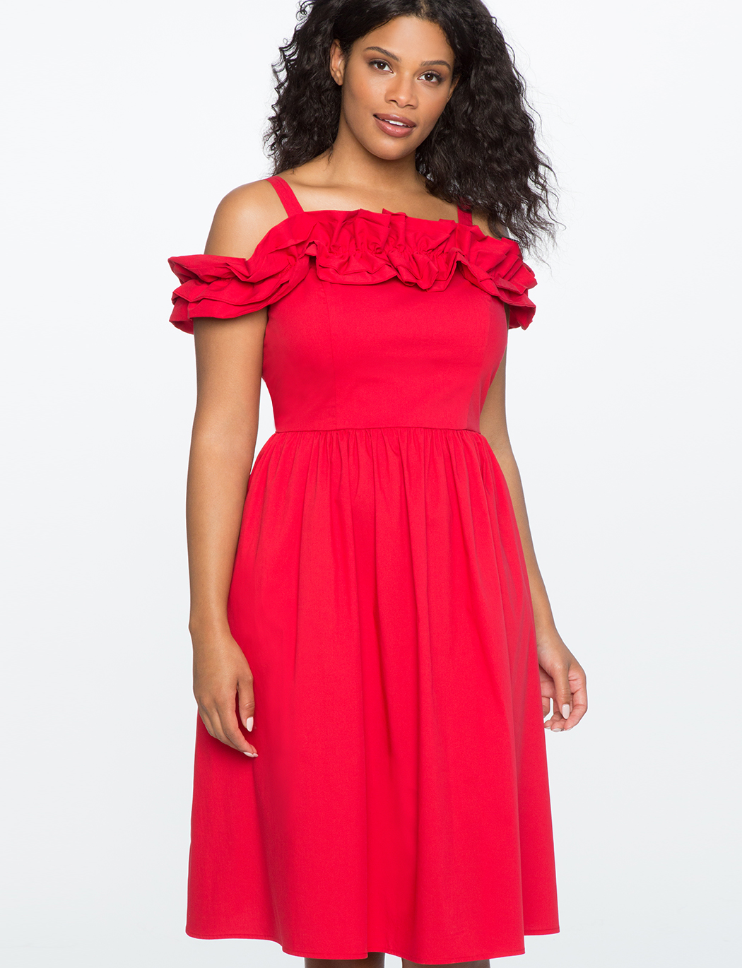Ruffle Detail Fit and Flare Dress