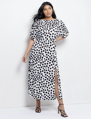 Dolman Sleeve Maxi Dress with Slit