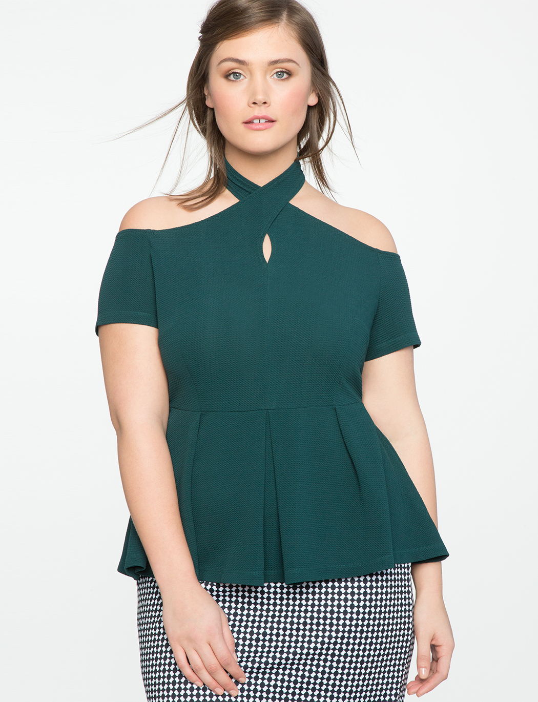 Wrap Neck Cold Shoulder Peplum Top