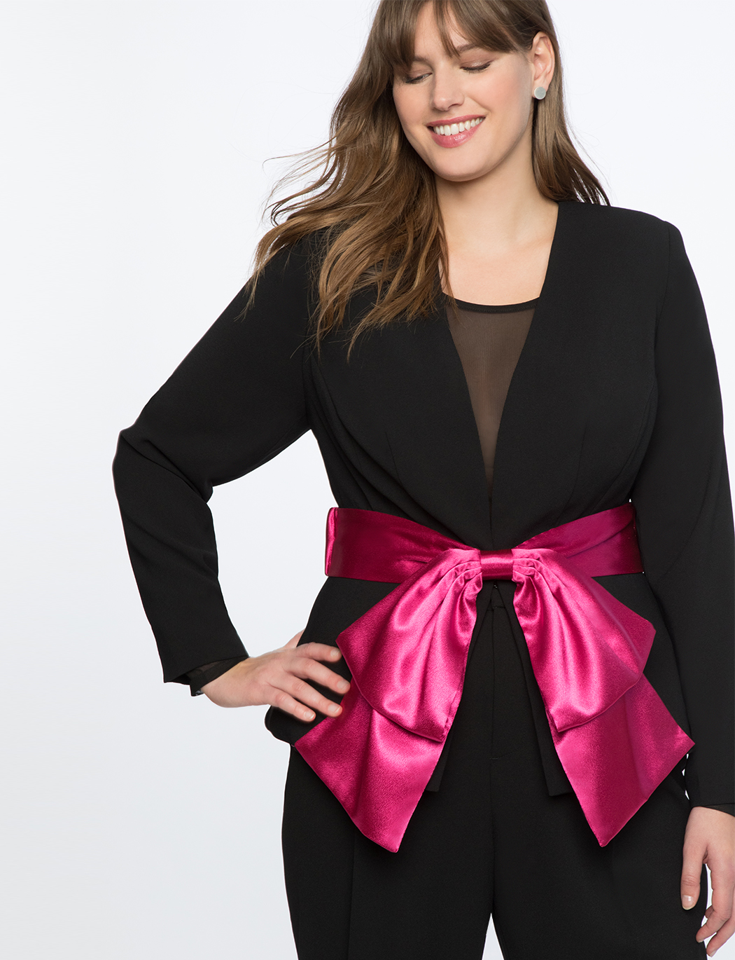 d089e21a64c Peplum Blazer With Satin Bow