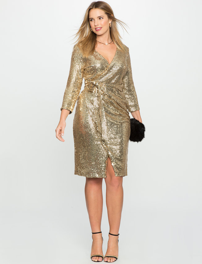 Studio Sequin Wrap Dress Womens Plus Size Dresses Eloquii