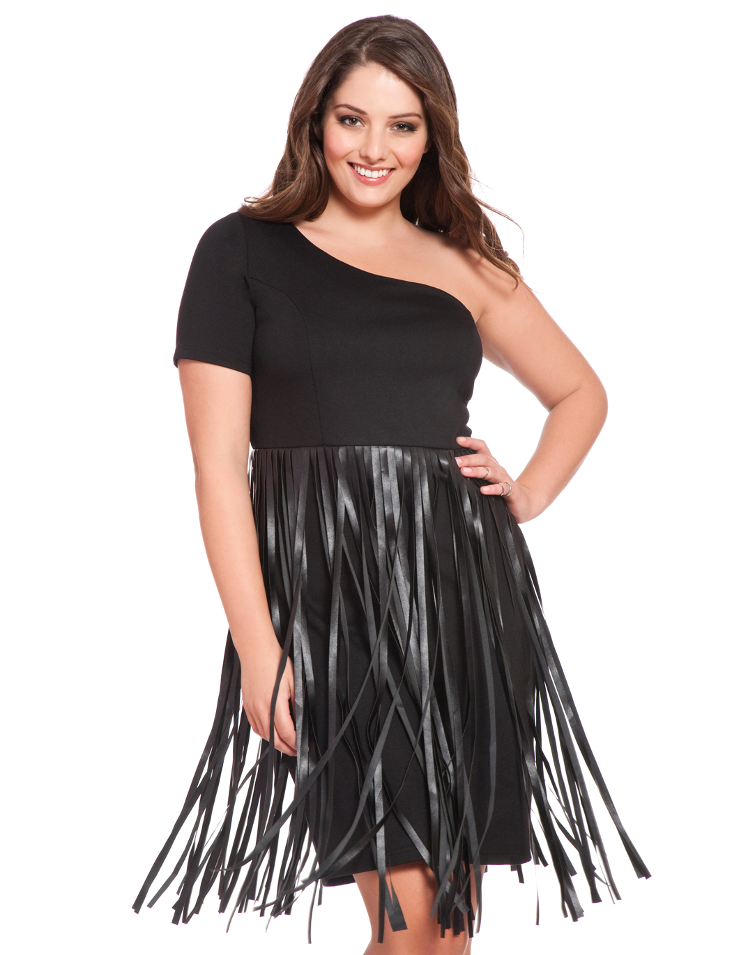Studio Faux Leather Fringe Dress | Women\'s Plus Size Dresses ...
