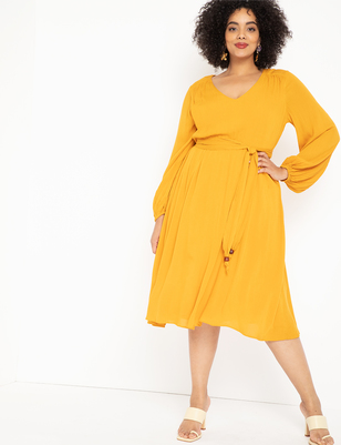 Balloon Sleeve Belted Dress