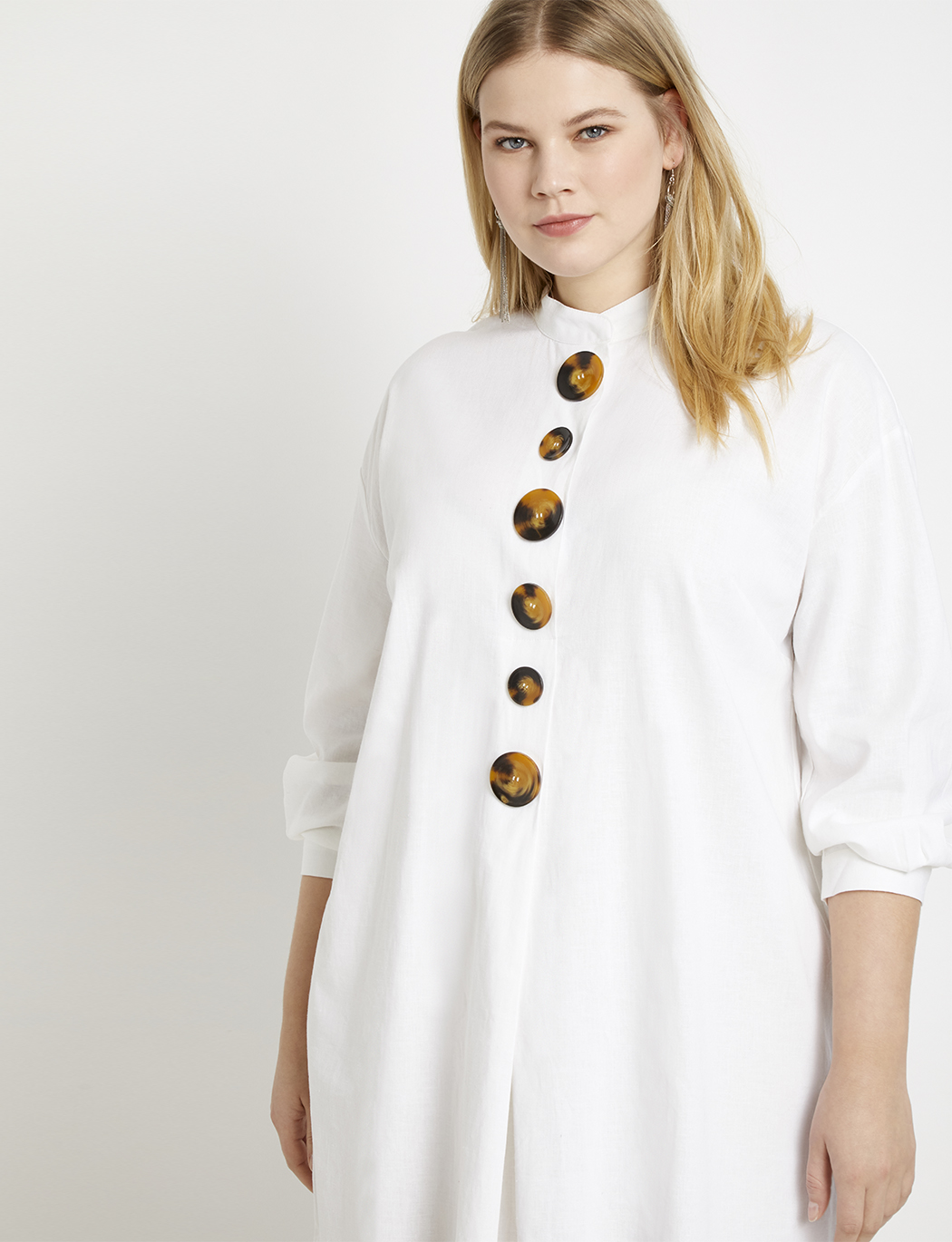 Mock Neck Tortoise Button Detail Dress