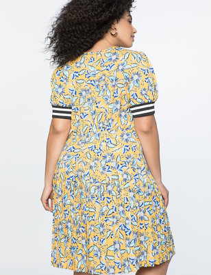 Printed Button Front Fit and Flare Dress
