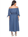 Studio Off the Shoulder Chambray Dress Medium Blue Chambray