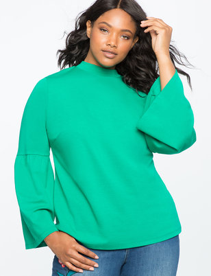 Flare Sleeve Mock Neck Top