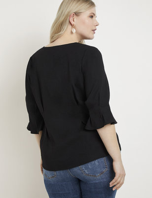 Pleated Sleeve Button Front Top