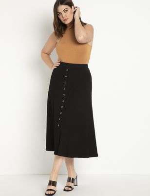 Knit Snap Front Skirt