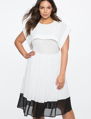 Pleated Fit and Flare Dress with Contrast Hem