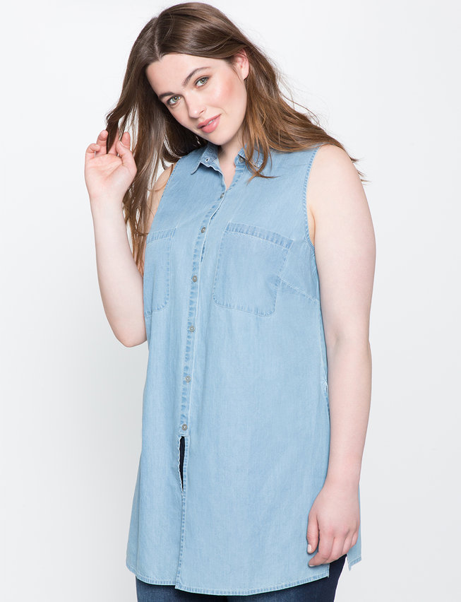 Collection of chambray shirt women plus size best for Plus size chambray shirt