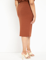 Ribbed Column Skirt Rusty Brown