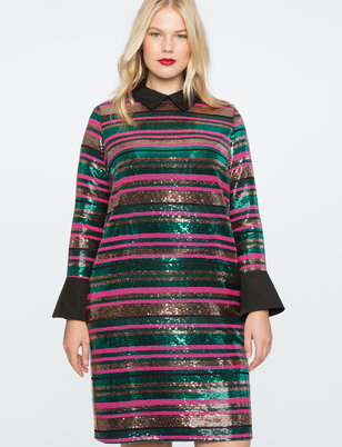 Striped Sequin Dress with Collar