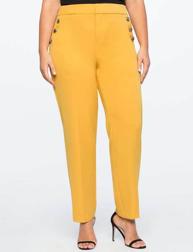 Button Detail Straight Leg Pant