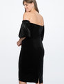 Strapless Velvet Dress with Full Sleeves Totally Black