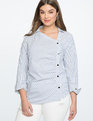 Asymmetrical Button Up Top White and Blue Stripe