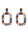 Jeweled Rounded Rectangle Earrings Multicolor + Gold