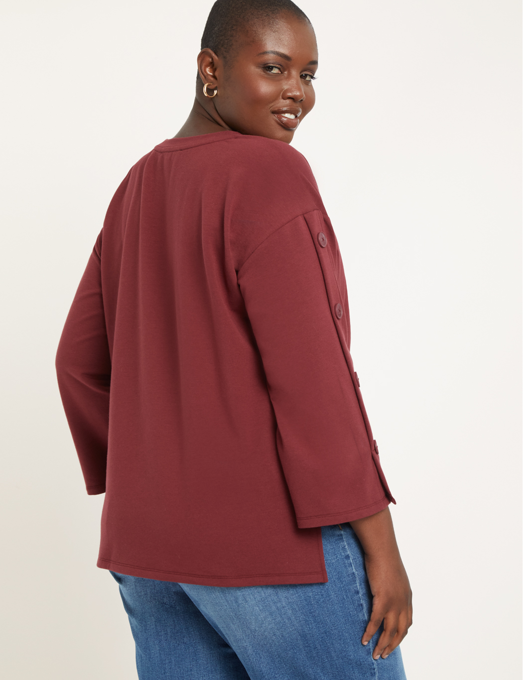 Button Sleeve High- Low Sweatshirt