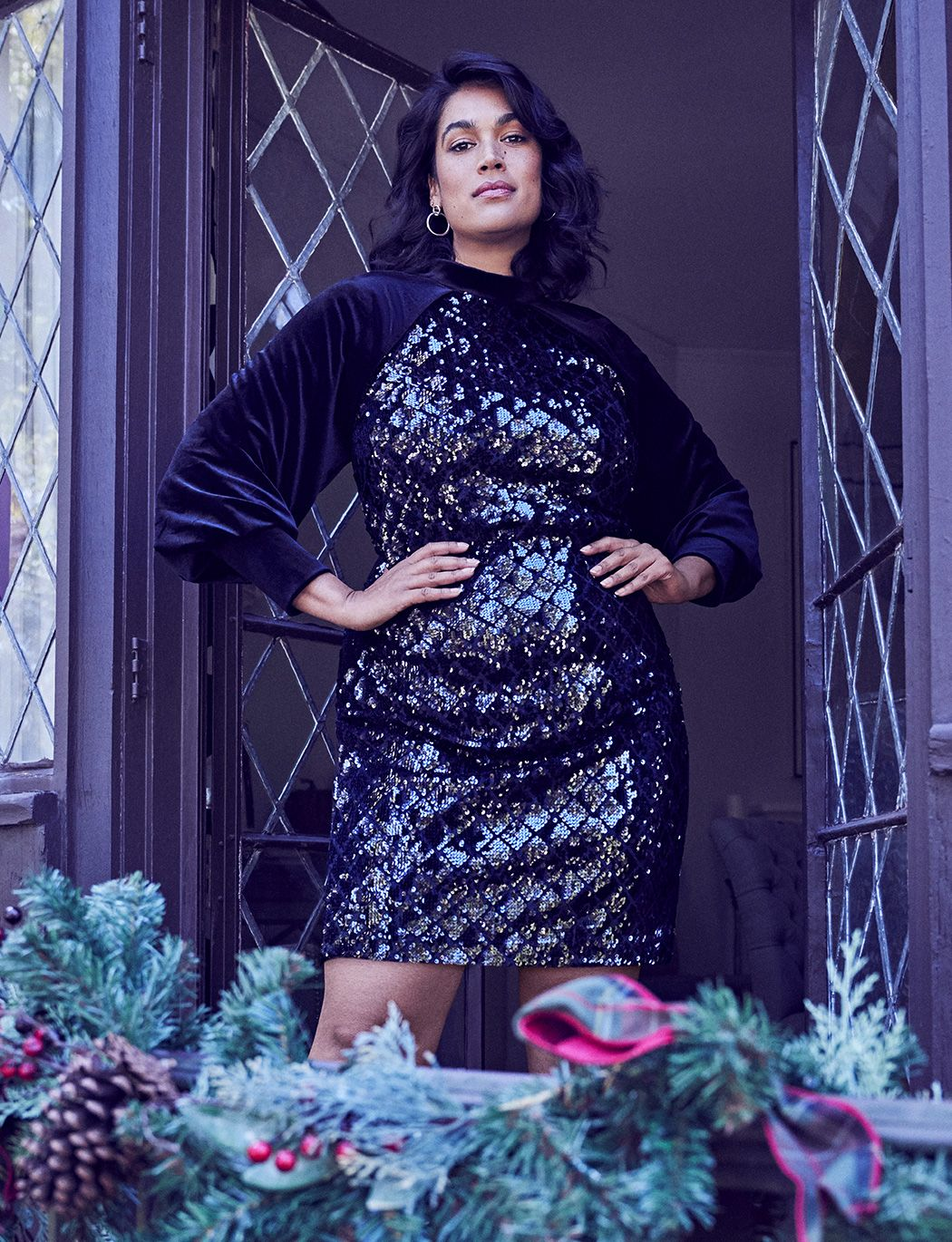 Velvet Sleeve Sequin Shift Dress