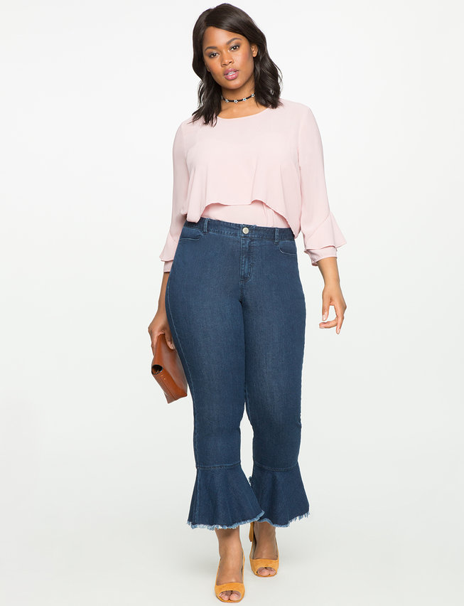 Ruffle Hem Jeans | Women's Plus Size Pants