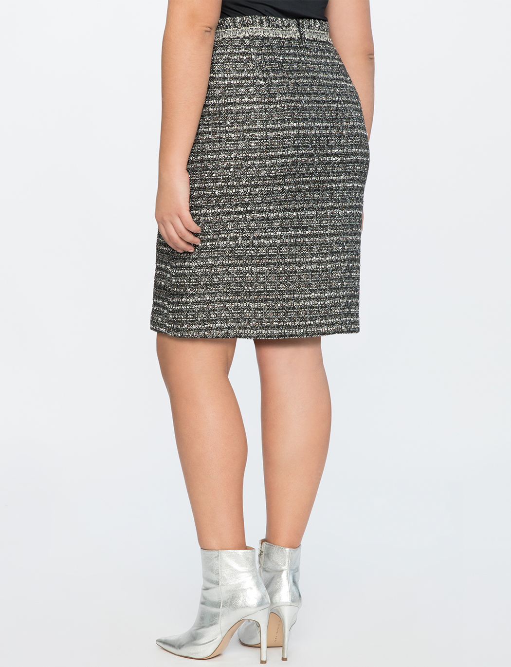 Tweed A-Line Skirt With Trim