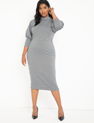 Houndstooth Puff Sleeve Dress