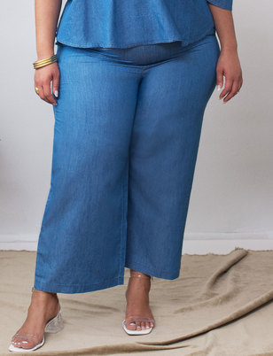 Cropped Chambray Pant