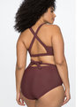Wrap Waist One Piece Swimsuit Burgundy