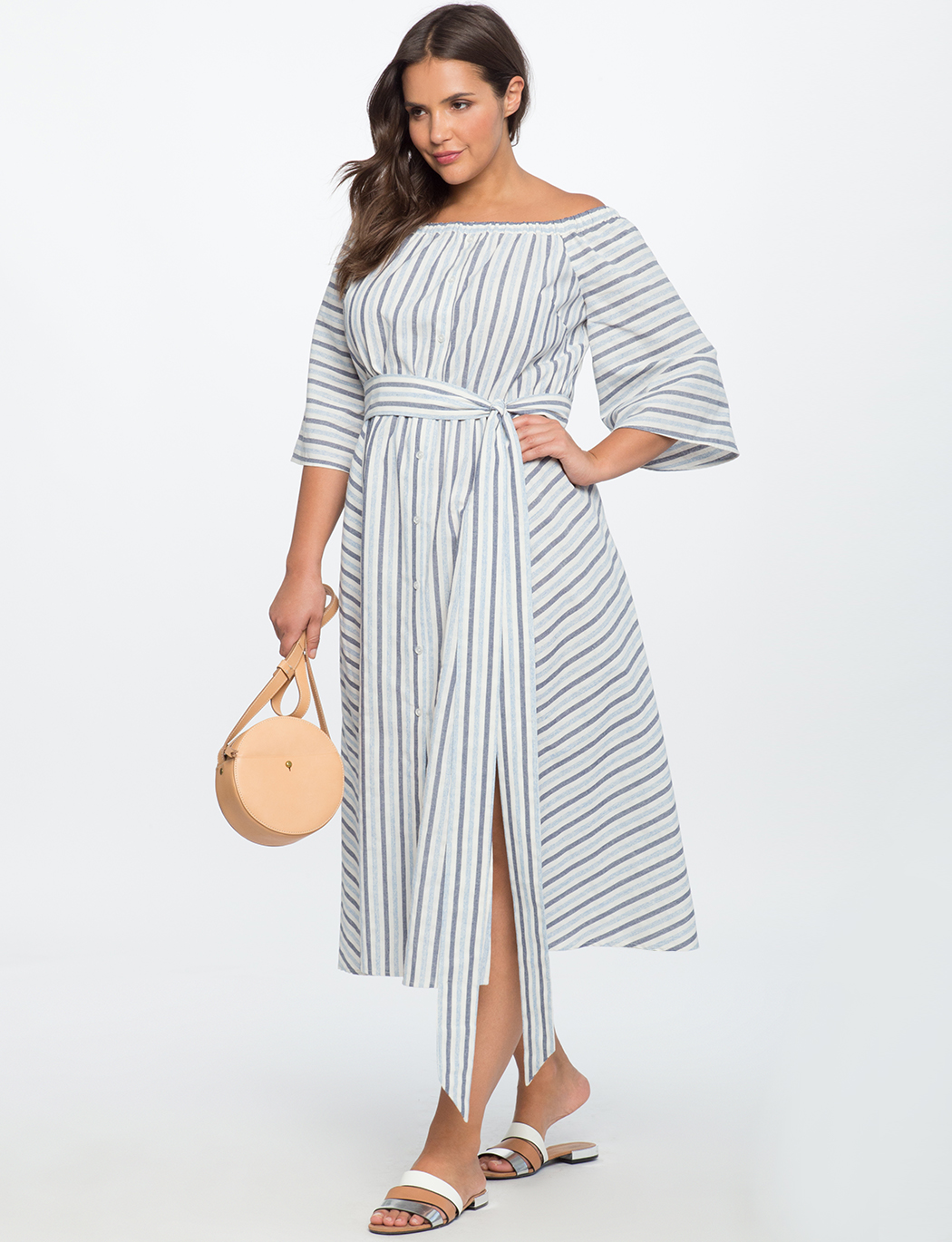 Button Down Off the Shoulder Dress