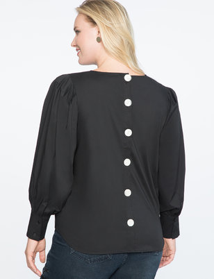 Button Back Dramatic Sleeve Top