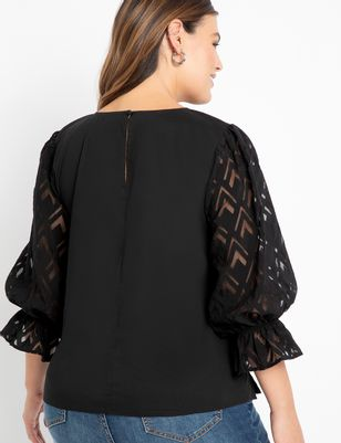 ELOQUII Elements Burnout Textured Sleeve Top