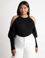 Cutout Sleeve Sweater Totally Black