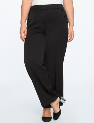 Wide Leg Button Detail Pant