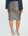 Checkered Sequin Pencil Skirt Pewter